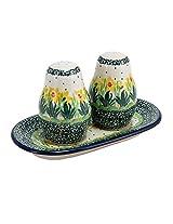 Polish Pottery 3 Piece Salt And Pepper Set With Serving Tray Handmade From Boleslawiec Poland Ceramika Artystyczna Traditional Series Stoneware Pattern Daffodills
