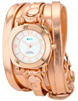 La Mer Collections Women's LMODYLY2000 Rose-Tone Watch with Metallic Leather Wraparound Band