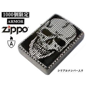 【クリックで詳細表示】1000個限定zippo ジッポー ライター アーマー スタッズ スカル W 髑髏 ホワイト・ブラックニッケル: 腕時計