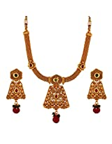 Antique Copper Ruby Green Kundan Spiral Flower Necklace and Earrings