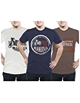 Mianuova-Urban Men's Combo T-Shirt -2014 UMRN 501 - Navy/Half White/Brown - L