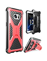 Galaxy S7 Edge Case, i-Blason Prime [Kickstand] Samsung Galaxy S7 Edge 2016 Release [Heavy Duty] [Dual Layer] Combo Holster Cover case with [Locking Belt Swivel Clip] (Red)
