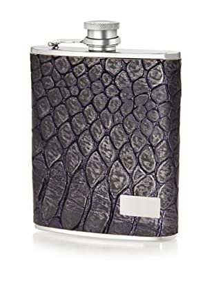 Wilouby Gift Set with 6 oz. Flask and Cigar Tube in Genuine Leather Metallic Blue Croc with Funnel