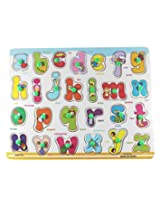Little Leaf Little Grin English Alphabets Wooden Puzzle With Pegs - Small Letters