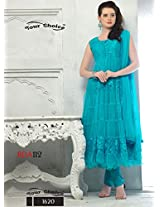 Latest Sky Blue Designer Semi Stiched Anarkali Salwar Suit