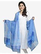 Cotton Silk Kota Printed Vertical Dot Dupatta-Turquoise