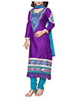 Clothing Deal Women's Cotton Unstitched Dress Material (Purple)
