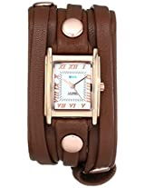 La Mer Collections Women's LMLW3000 Rose Gold-Plated Watch with Wraparound Brown Leather Band