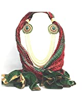 NJS Women's Stole (#JST 31_Red & Green_Free Size)