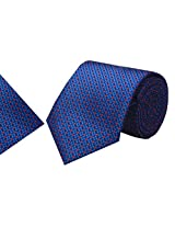 Navaksha Royal Blue Micro Fiber Tie With Pocket Square