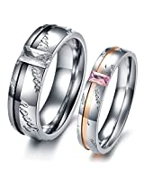 Via Mazzini 316L Stainless Steel Love Birds Crystal Couple Rings (Ring0108)