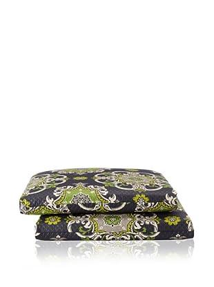 Waverly Set of 2 Sun-n-Shade Garden Crest Squared Seat Cushions (Onyx)