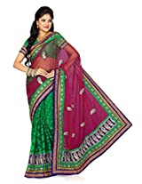 De Marca Green Net Casual M702 Saree