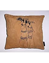 Kitschdii Leather African 2 Labourers Cushion Cover