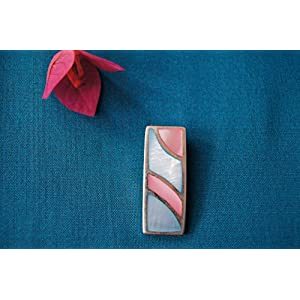 Gajgauri Rectangular Silver Pendant With Mother Of Pearl