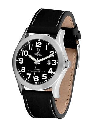 Dogma G7033 - Reloj de Caballero movimiento de quarzo con correa de piel negro