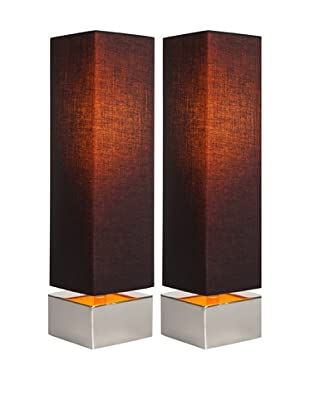 Filament Set of 2 Square Contrast Shade Table Lamps, Black/Orange