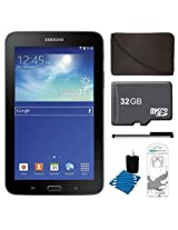 """Samsung Galaxy Tab 3 Lite 7.0"""" SM-T110NYKAXAR Black 8GB Tablet, 32GB Card, Headphones, and Case Bundle - Includes tablet, 32GB microSD memory card, 7-8"""" tablet sleeve, audio earbuds, universal touch screen stylus pen, and cleaning kit"""