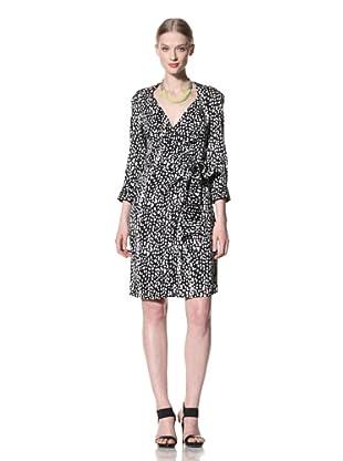 Pink Tartan Women's Pebble Wrap Dress (White/Black)