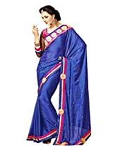 Polysatin Saree in Blue Colour for Party Wear Wear
