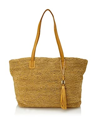 Olivia Harris Women's Columbier Solid Woven Tote (Yellow)