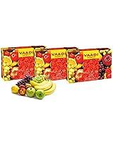 Vaadi Herbals Fruit Splash Soap with Extracts of Orange, Peach, Green Apple and Lemon, 75gms x 3