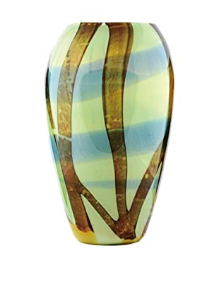 La Meridian Hand Blown Glass Vase with Brown Stripes