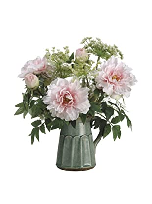 Allstate Floral Peony & Queen Anne's Lace in Ceramic Pitcher, Pink White