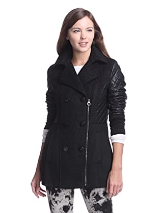 Laundry by Shelli Segal Women's Peacoat with Quilted Sleeves (Black)