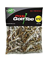 Pride Golf Wood Golf Tee, 2-3/4-Inch Deluxe Tee, 500 Count Bag, Mixed White / Natural Made in the USA