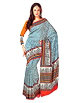 Orbymart Exclusive Designer Raw Silk Blue Printed Saree - 55247966