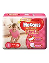Huggies Ultra Soft Pants Large Size Premium Diapers for Girls (White, 26 Counts)