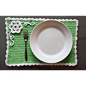 HighKnit White Floral Green Mat
