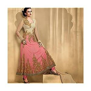 TrendyBIBA TBSUBEL 15 Velvet Beige, Pink Anarkali Suit