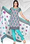 Cyan Cotton Salwar Kameez
