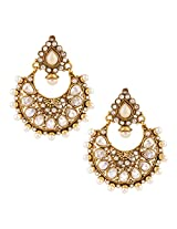 Glowing pearl earring with glittering ad stone hand-made indian jewelryABEA0334WH