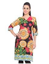 DeDe'S BLACK-rolled neck styuule with one button COTTON CASUAL KURTI