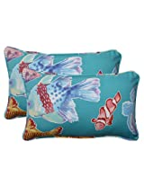 Pillow Perfect Indoor/Outdoor Kiley Corded Rectangular Throw Pillow, Lagoon, Set of 2