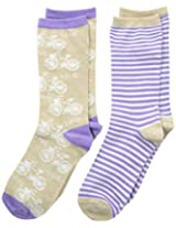 Maidenform Big Girls' Bikes and Stripes Two-Pair Crew-Sock Pack