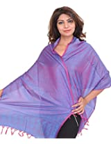 Exotic India Banarasi Scarf with Tanchoi weave - Color Radiant OrchidColor Free Size