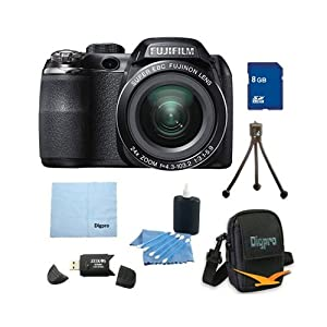 Fujifilm FinePix S4200 24x Optical Zoom 14 MP 3 inch LCD Digital Camera 8 GB Bundle