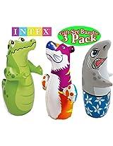 Intex 3D Bop Bag Blow Up Inflatable Alligator, Shark & Tiger Gift Set Bundle - 3 Pack