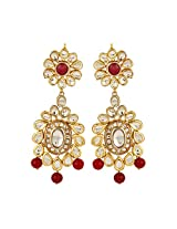 Dilan Jewels PURE Collection Red Coloured Gold Plated Kundan Long Earrings For Women