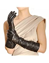 Warmen Stylish Leather Ruched Elbow Length Long Evening Dress Gloves (S, Black)