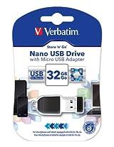 Verbatim 32GB Store 'n' Go Nano USB Flash Drive with USB OTG Micro Adapter 49822