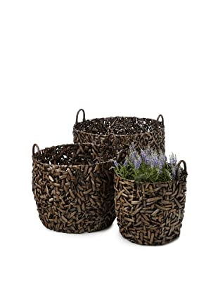 Wald Imports Set of 3 Oversized Round Random-Weave Seagrass Baskets/Planters (Espresso)