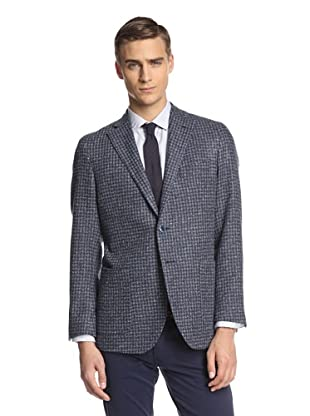 Lubiam Men's Unconstructed Two Button Patch Pocket Sport Coat (Navy/Grey)