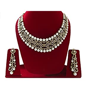 Imitation White Pearl & Diamond Necklace Set in Gold Tone