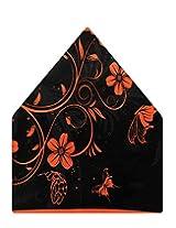 Tiekart Floral Print Polyester Pocket Square (Ps526_Black)