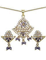 12.20 Grams Purple Cubic Zirconia & White Cubic Zirconia Gold Plated Brass Pendant Set